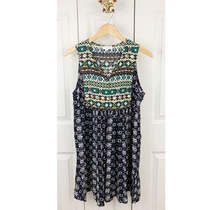 Umgee Boho Chic Peasant Tribal Babydoll Dress